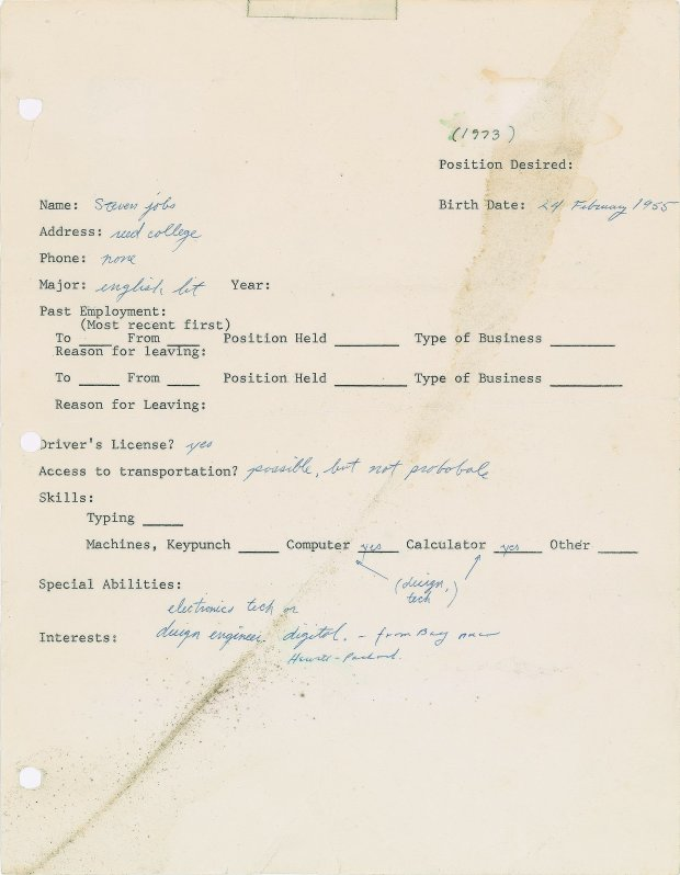 The 1973 job application filled out by Steve Jobs was sold for $174, 757 inBoston on Friday. (Courtesy RR Auction)