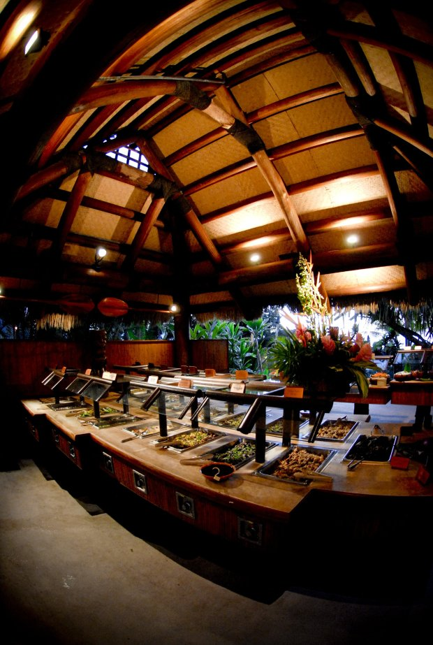 Old Lahaina Luau features an all-you-can-eat buffet of classic Hawaiiandishes, including lomi lomi salmon, Kalua pork and poi. (Courtesy of Old Lahaina Luau)