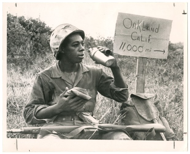 """COLLECTION OF THE OAKLAND MUSEUM OF CALIFORNIA, FROM THE OAKLAND TRIBUNE COLLECTIONThis photo of Clairborne L. Shaw of the U.S. Marine Corps is one of many historic photos featured in the new book, """"Boots on the Ground."""""""