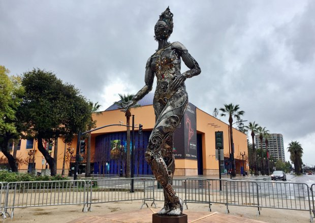 """Tara Mechani,"" a 15-foot-tall metal figurative sculpture by artist DanaAlbany, will be on display at San Jose's Plaza de Cesar Chavez through June 9, 2018. (Sal Pizarro/Bay Area News Group)"
