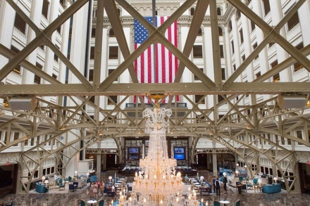 The lobby of the Trump International Hotel. (Linda Davidson/The Washington Post)