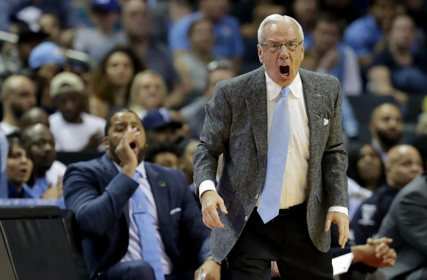 CHARLOTTE, NC - MARCH 18: Head coach Roy Williams of the North Carolina Tar Heels reacts against the Texas A&M Aggies during the second round of the 2018 NCAA Men's Basketball Tournament at Spectrum Center on March 18, 2018 in Charlotte, North Carolina. (Photo by Streeter Lecka/Getty Images)