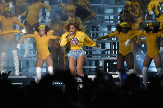 Beyonce takes the stage at the 2018 Coachella Valley Music and Arts Festival Saturday, April 14. (Photo by Watchara Phomicinda, SCNG)