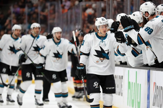 ANAHEIM, CA - APRIL 14: Marcus Sorensen #20 of the San Jose Sharks is congratulated at the bench after scoring a goal during the first perioid iin Game Two of the Western Conference First Round against the Anaheim Ducks during the 2018 NHL Stanley Cup Playoffs at Honda Center on April 14, 2018 in Anaheim, California. (Photo by Sean M. Haffey/Getty Images)