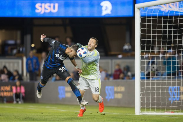 Yeferson Quintana almost scored the game-winner on April 14, 2018 for theSan Jose Earthquakes at Avaya Stadium. Quintana, 21, is a new center back from Uruguay. (ISI Photos). Can use online. Can use in other DFM publications.