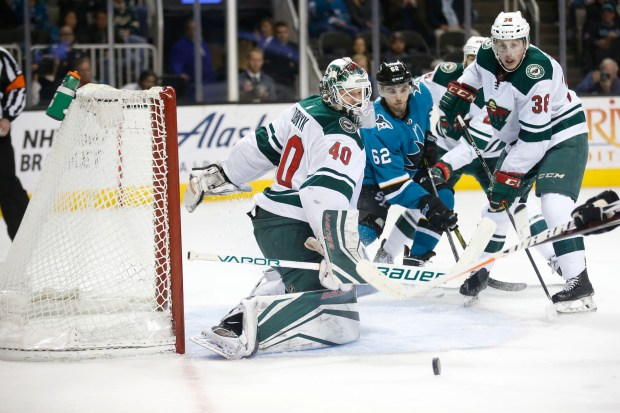 Minnesota Wild's Devan Dubnyk (40) makes a save in the third period at SAP Center in San Jose, Calif., on Saturday, April 7, 2018. The Wild would beat the Sharks 6-3. (Randy Vazquez/ Bay Area News Group)