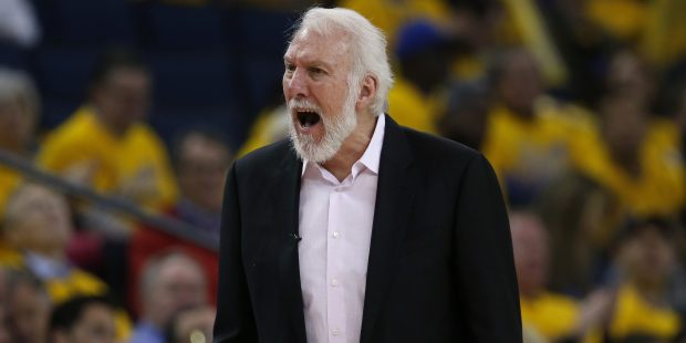 San Antonio Spurs head coach Gregg Popovich yells at a referee during their game against the Golden State Warriors in the third quarter of Game 1 of their NBA first-round playoff series at the Oracle Arena in Oakland, Calif., on Saturday, April 14, 2018. (Nhat V. Meyer/Bay Area News Group)