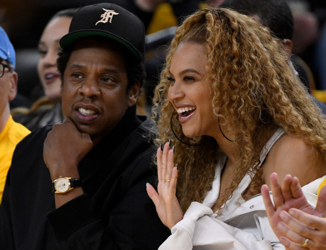 Jay-Z and Beyonce sit court side as the Golden State Warriors take on the New Orleans Pelicans in the first quarter of Game 1 of the NBA Western Conference semifinals at Oracle Arena in Oakland, Calif., on Saturday, April 28, 2018. (Jose Carlos Fajardo/Bay Area News Group)