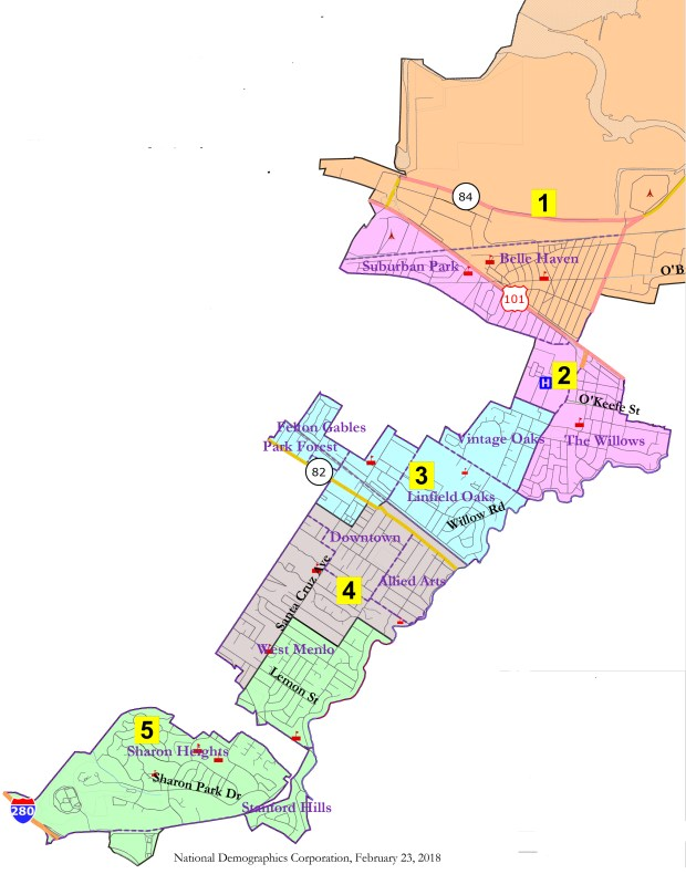 Five new voting districts in Menlo Park are shown in this map of the city. (City of Menlo Park)