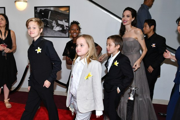 """NEW YORK, NY - SEPTEMBER 14: (L-R) Shiloh Jolie-Pitt, Zahara Jolie-Pitt, Vivienne Jolie-Pitt, Knox Leon Jolie-Pitt, Angelina Jolie, and Pax Thien Jolie-Pitt attend the """"First They Killed My Father"""" New York premiere at DGA Theater on September 14, 2017 in New York City. (Photo by Dia Dipasupil/Getty Images)"""