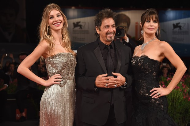 VENICE, ITALY - AUGUST 30: Camila Sola, actor Al Pacino wearing a Jaeger-LeCoultre watch and Lucila Sola attend the 'The Humbling' the premiere during the 71st Venice Film Festival at the Palazzo del Casino on August 30, 2014 in Venice, Italy. (Photo by Ian Gavan/Getty Images for Jaeger-LeCoultre)