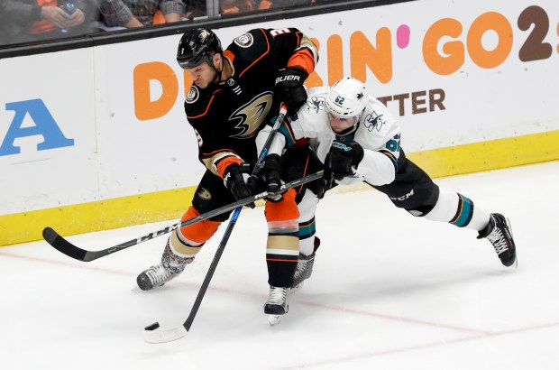 Anaheim Ducks defenseman Kevin Bieksa, left, battles San Jose Sharks right wing Kevin Labanc for the puck during the first period of Game 2 of an NHL hockey first-round playoff series in Anaheim, Calif., Saturday, April 14, 2018. (AP Photo/Chris Carlson)