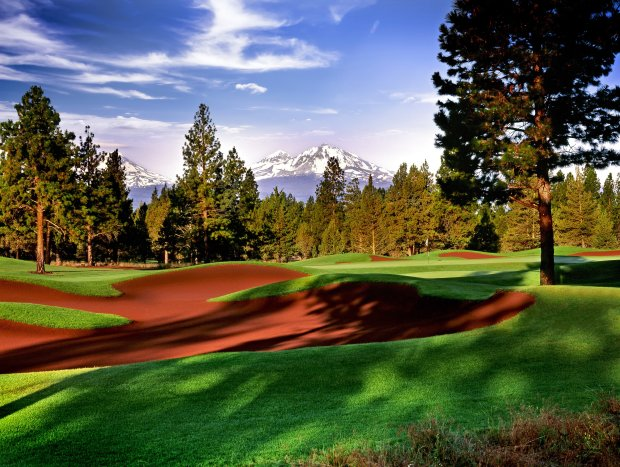Aspen Lakes, near the town of Sisters, boasts some of Bend's finestmountain views -- and red bunkers fashioned from crushed volcanic cinders. (Central Oregon Visitors Association)