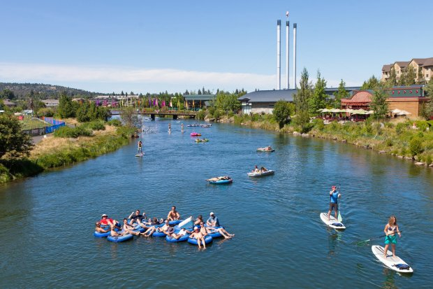 The Deschutes River near Bend, Oregon is a favorite spot for water sports,from tubing to stand-up paddle boarding. (Jill Rosell Photography)