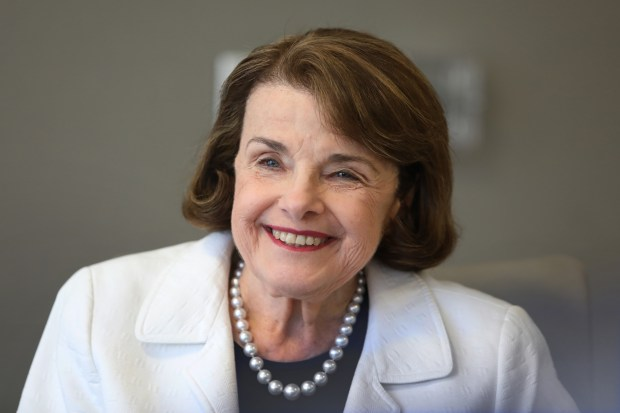 U.S. Sen. Dianne Feinstein meets with the editorial board of the Bay Area News Group at the Mercury News office in San Jose, Calif., Monday, April 2, 2018. (Karl Mondon/Bay Area News Group)