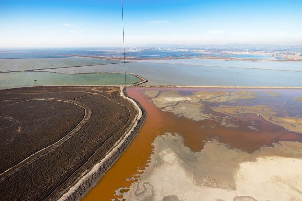 Former Cargill Salt ponds off Eden Landing near Hayward are proposed to berestored to wetlands for fish and wildlife with funding from Measure AA, approved by voters in 2016. (Photo: Cris Benton)