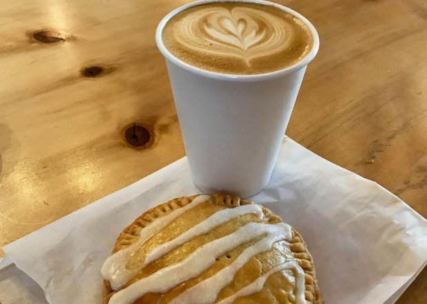 "A Sisters Coffee Company latte and a housemade marionberry-filled pastry""pop tart"" provide a perfect afternoon pick-me-up. (Jackie Burrell/Bay Area News Group)"