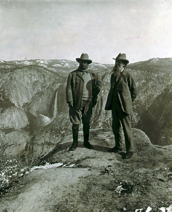 Half of a steroscopic photo depicts Theodore Roosevelt and John Muir on Glacier Point, Yosemite Valley, California, in 1903. (Courtesy Library of Congress)