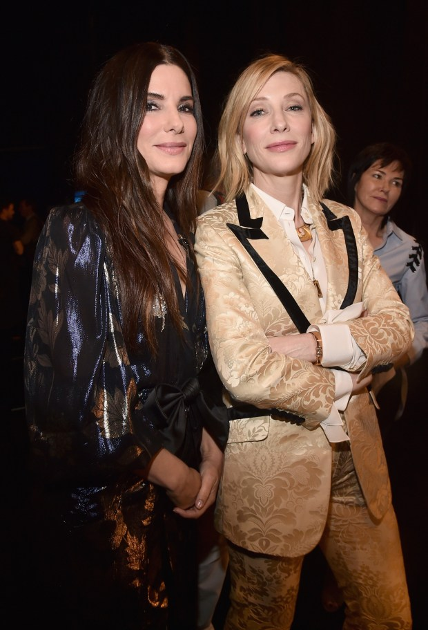 Sandra Bullock and Cate Blanchett at  CinemaCon  on April 24, 2018 in Las Vegas, Nevada.  (Photo by Alberto E. Rodriguez/Getty Images for CinemaCon)