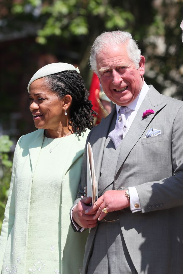Doria Ragland and Prince Charles, Prince of Wales leave St George's Chapel at Windsor Castle following the wedding of Prince Harry and Meghan Markle on May 19, 2018 in Windsor, England. (Photo by Brian Lawless - WPA Pool/Getty Images)