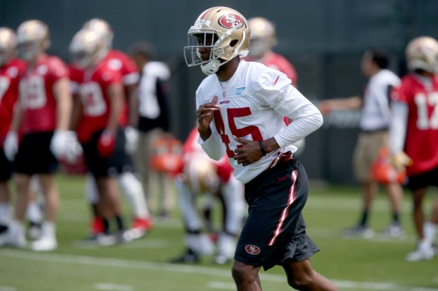 Tarvarius Moore (45) warms up during the San Francisco 49ers rookie minicamp practice in Santa Clara, Calif., on Friday, May 4, 2018. (Anda Chu/Bay Area News Group)
