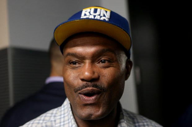 Former Warriors Tim Hardaway is photographed during an interview with this newspaper during halftime of the Golden State Warriors' Game 3 NBA Western Conference finals against the Houston Rockets at Oracle Arena in Oakland, Calif., on Sunday, May 20, 2018. Hardaway will be inducted into the Bay Area Sports Hall of Fame (BASHOF) on Monday night during a ceremony at the Westin St. Francis in San Francisco. (Anda Chu/Bay Area News Group)