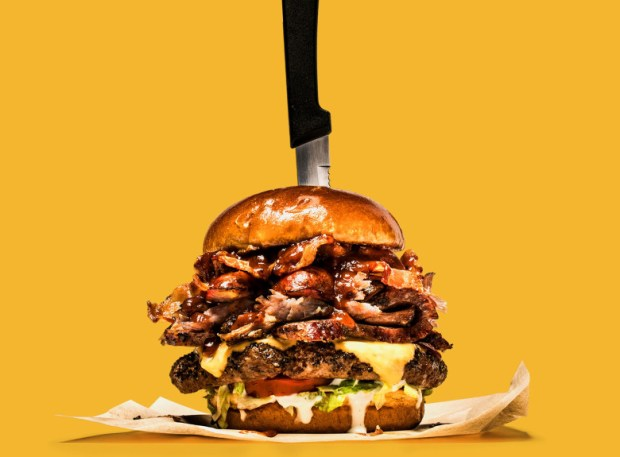 Chili's Grill & Bar's new Boss Burger is almost a half foot tall. (Courtesy of Chili's.)