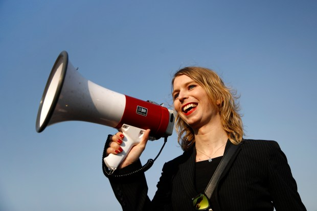 Chelsea Manning addresses participants at an anti-fracking rally in Baltimore, April 18, 2018. (AP Photo/Patrick Semansky)