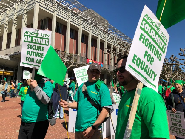 Members of AFSCME Local 3299 began massing on the University of California campus in Berkeley, Calif. on Monday, May 7, 2018. The UC system's service workers - custodians, food service workers and security officers - began the first day of a three-day walk-out to bring pressure against UC negotiators after their contract negotiations stalled. On Tuesday, nurses working in the UC system health care network say they will join the strike in sympathy, The UC service workers say their wages aren't keeping up with the cost of living in the Bay area and the offer by UC doesn't go far enough to alleviate their financial position. (Jose Carlos Fajardo/Bay Area News Group)