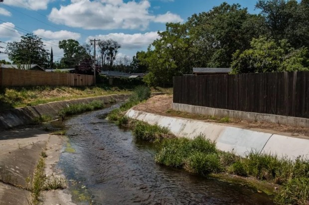 A drainage canal where police say the East Area Rapist would hide to elude authorities. It is in Rancho Cordova, Calif., east of Sacramento. (Nick Otto/For The Washington Post)