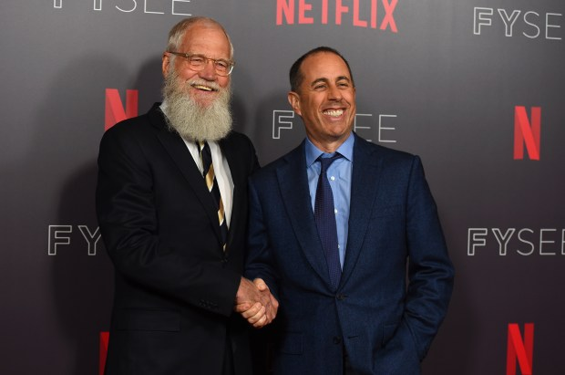 "David Letterman, left, and Jerry Seinfeld arrive at the ""My Next Guest Needs No Introduction with David Letterman"" FYC event on Monday, May 7, 2018, in Los Angeles. (Photo by Jordan Strauss/Invision/AP)"