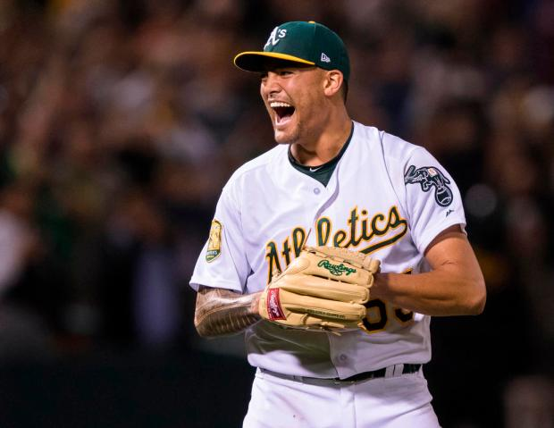 FILE - In this April 21, 2018, file photo, Oakland Athletics starting pitcher Sean Manaea celebrates pitching a no-hitter against the Boston Red Sox in a baseball game in Oakland. Manaea's next start will come during the upcoming weekend series at the Houston Astros. (AP Photo/John Hefti, File)