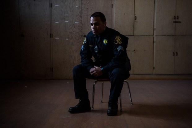 Sgt. Oscar Perez of the Alameda County Sheriff's Office said his work to connect with communities of undocumented immigrants is undercut by fear of federal immigration agents. (Salwan Georges/The Washington Post)
