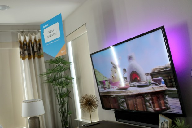 A television plays a children's show in a model home on Mare Island in Vallejo, Calif., on Thursday, May 10, 2018. (Anda Chu/Bay Area News Group)
