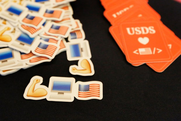 Stickers and cards are displayed at the U.S. Digital Service recruitment booth during the Code For America Summit at the Oakland Marriott Convention Center in Oakland, Calif., on Thursday, May 31, 2018. Matt Cutts, acting administrator for U.S. Digital Service, is in Silicon Valley/Bay Area to recruit tech workers to come work with him in Washington, D.C. (Laura A. Oda/Bay Area News Group)