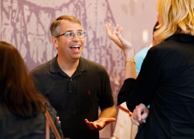 Matt Cutts, U.S. Digital Service acting administrator, talks with Veda Cook from Berkeley at their recruitment booth at the Code For America Summit at the Oakland Marriott Convention Center in Oakland, Calif., on Thursday, May 31, 2018. Cutts is in Silicon Valley/Bay Area to recruit tech workers to come work with him in Washington, D.C. (Laura A. Oda/Bay Area News Group)
