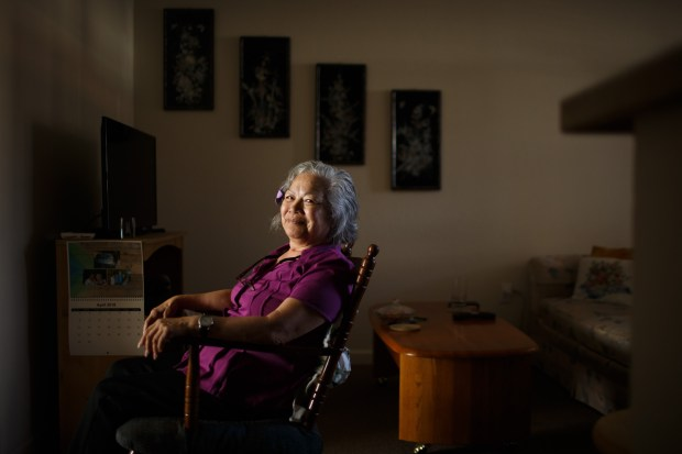 Portrait: Teri Bruner in her new home at an affordable residence for seniors, Gateway Santa Clara, on April 19, 2018. In 2016, Bruner, then 72, was evicted from the house in San Jose she had rented for 19 years after the owner decided to sell it. With no place to go, she and her boyfriend became homeless. They stayed in motels until they ran out of money, and then lived out of a van. (Dai Sugano/Bay Area News Group)