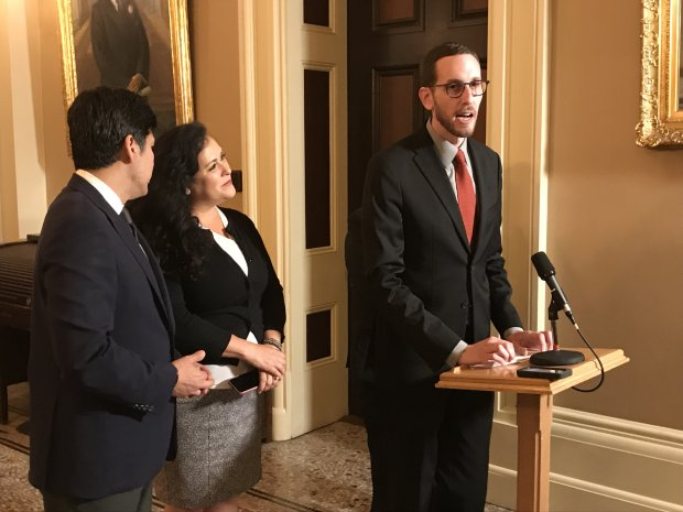 State Sen. Scott Wiener, D-San Francisco, holds a Capitol newsconference Thursday after the passage of Senate Bill 785, which would prevent the disclosure of a person's immigration status in court unless a judge deems the information relevant to the case. The bill, passed on May 10, 2018, now goes to the governor for his approval.