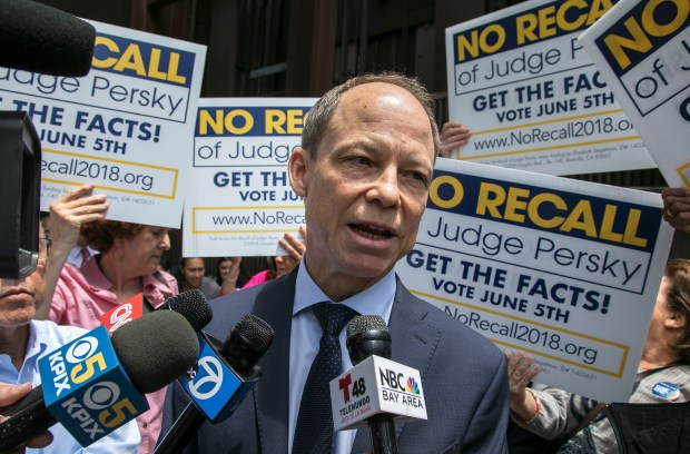 udge Aaron Persky talks to the media at the No Recall campaign rally in front of the Santa Clara County Government Center in San Jose, California on Wednesday, May 30, 2018. (LiPo Ching/Bay Area News Group)
