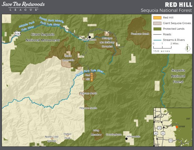 Map showing the location of the Red Hill Property, next to Giant SequoiaNational Monument in Tulare County in the Southern Sierra.