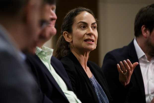 Juniper Downs, global head of public policy and government relations at YouTube, speaks during a forum about social media platforms and the future of democracy, on Mary 3, 2018 at Stanford University. (Dai Sugano/Bay Area News Group)