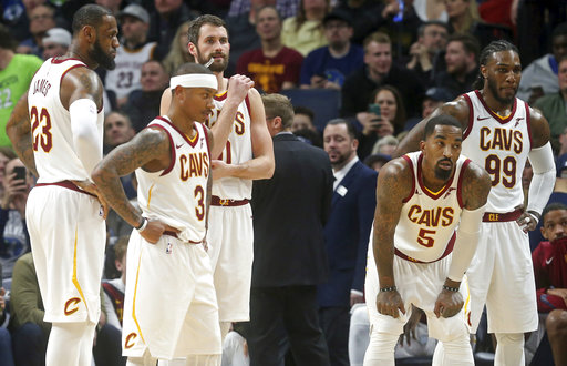 FILE - In this Monday, Jan. 8, 2018, file photo, Cleveland Cavaliers players, from left, LeBron James, Isaiah Thomas, Kevin Love, JR Smith and Jae Crowder take a break during a review in the second half of an NBA basketball game against the Minnesota Timberwolves in Minneapolis. Frustrated by their recent poor play in a season where their NBA title hopes seem to be slipping away, the Cavaliers held an emotional pre-practice meeting on Monday, Jan. 22, 2018, in hopes of clearing the air. (AP Photo/Jim Mone, File)