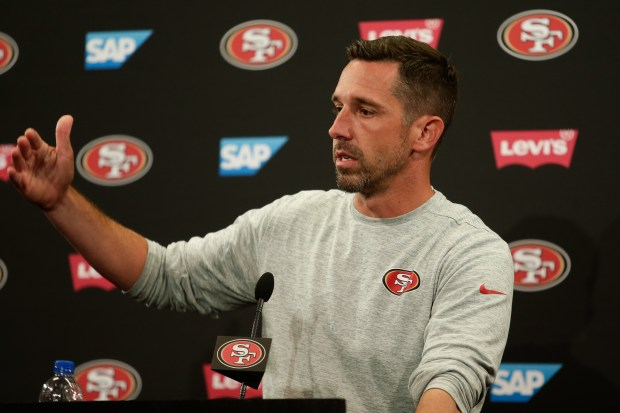 Head Coach Kyle Shanahan speaks during a press conference on Wednesday, June 13, 2018, at Levi's Stadium in Santa Clara, Calif., for the San Francisco 49ers' mini-camp. (Maritza Cruz/ Bay Area News Group)