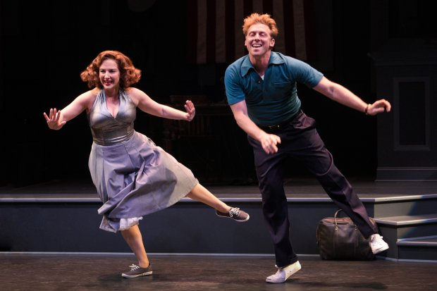 "Natalie (Donna Vivino) and Bobby (Leo Ash Evens) do the Lindy Hop in ascene from ""Finks,"" presented by TheatreWorks Silicon Valley at the Mountain View Center for the Performing Arts through July 1. (Courtesy Kevin Berne)"