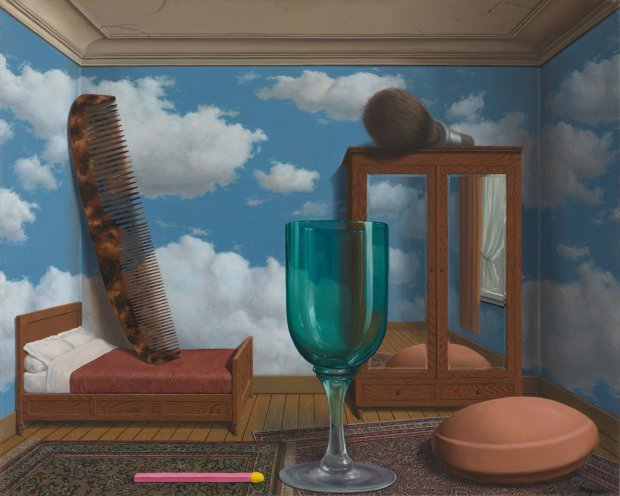 René Magritte,Personal Values,1952; oil on canvas; San Francisco Museum of Modern Art, purchase through a gift of Phyllis C. Wattis; © Charly Herscovici, Brussels / Artists Rights Society (ARS), New York
