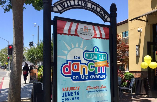 A poster on Lincoln Avenue advertises Dancin' on the Avenue, a 23-yearWillow Glen tradition that will end June 16, 2018. (Sal Pizarro/Bay Area News Group)