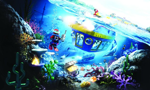 Legoland in Carlsbad introduces the LEGO City Deep Sea Adventure ride thissummer. Guests will board a real submarine to explore lost treasure on a sunken LEGO shipwreck. (Legoland California)