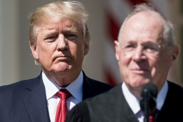 US President Donald Trump (L) listens while Supreme Court Justice Anthony Kennedy speaks during a ceremony in the Rose Garden of the White House April 10, 2017 in Washington, DC. / AFP PHOTO / Brendan Smialowski (Photo credit should read BRENDAN SMIALOWSKI/AFP/Getty Images)