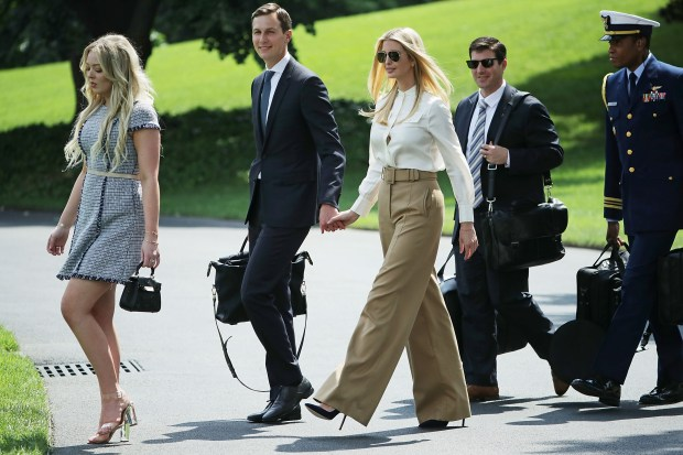WASHINGTON, DC - JUNE 01: (L-R) Tiffany Trump, White House Senior Advisor Jared Kushner and his wife Ivanka Trump leave the White House June 1, 2018 in Washington, DC. The The family members are accompanying U.S. President Donald Trump to Camp David for the weekend. (Photo by Chip Somodevilla/Getty Images)