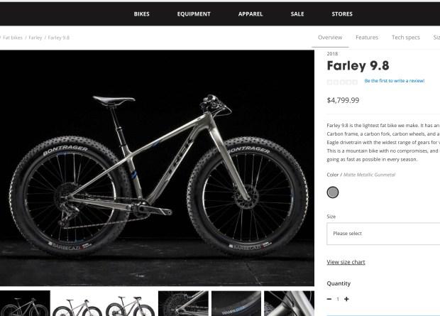 The top-end Farley bike on Trek's website.
